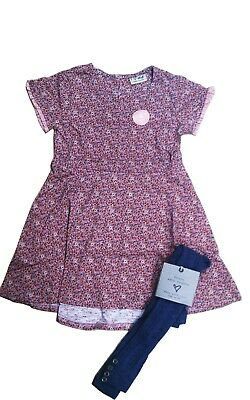 Next Girls' Ditsy Dress With Tights 18-24 Months 2-3 Years Fast Shipping