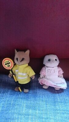Vintage Sylvanian Families Fox Lollipop Man, Eric Renard And Dog Dinner Lady