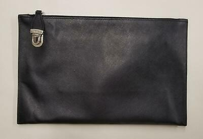 37f2b736aeb4c0 PRADA Black Saffiano Leather Push Lock Travel Pouch Oversize Clutch Bag