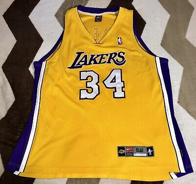 79e751011f8 Vintage Nike Authentic NBA Los Angeles LA Lakers Shaquille O'Neal Jersey Sz  52