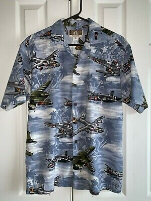 d0031b07 Kalaheo Men's Hawaiian Camp Shirt WWII Bomber War Planes Airplanes Size  Large
