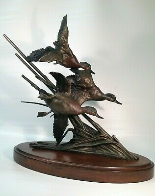 "RONNIE WELLS 23"" Solid Bronze Green-Winged Teal D.U. Statue Sculpture duck decoy"