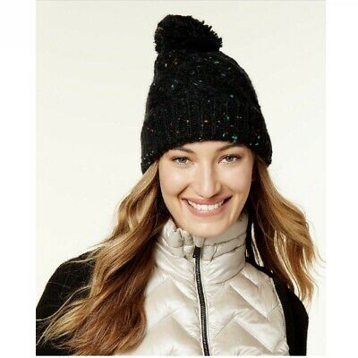 0425c6937aaccc Steve Madden Women's Speckled Cable Knit Pom Pom Top Cuffed Beanie Hat Black