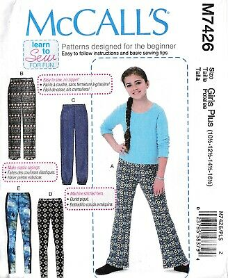 """Childs Girls Pull On Pants & Leggings Plus Size 10½-16½"""" Sewing Pattern"""