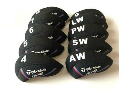 10PCS Golf Iron Headcovers for Taylormade M4 Club Caps Covers 4-LW Black&Black