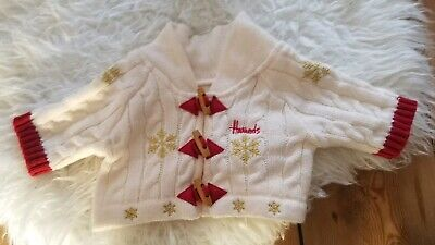 Harrods Vintage Newborn Sweater Cardigan White Wool chunky knit Red 0-3 months