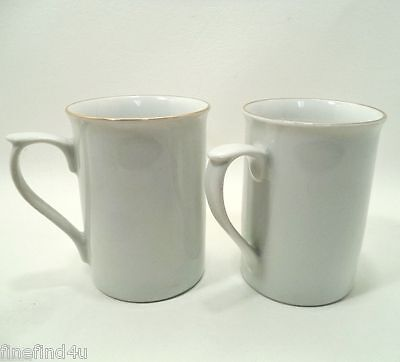 GIBSON Desings EVERYDAY China White w/ Gold Rim / Gilt Set(s) of 2 Coffee Cups