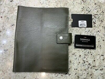 New! $225 SHINOLA Large Journal Cover W Tab. Spruce Green Leather. Made In USA