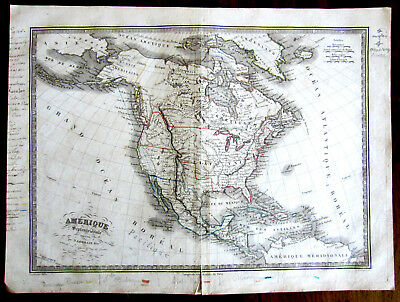 Early Map of North America Copper Engraving by N. Lorrain Pere, Paris, ca. 1836