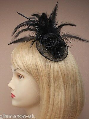 Fascinator Black with Hessian Rosette & Feather Weddings Ladies Day Races Proms