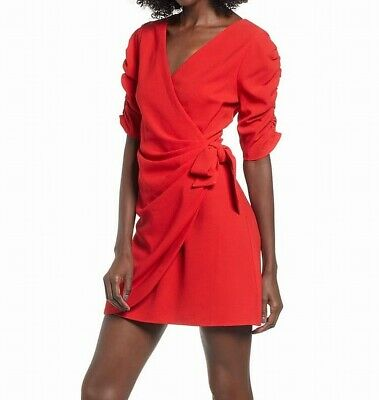 4e6b8f46 Speechless NEW Red Size Small S Junior Ruched-Sleeve Wrap Sheath Dress $52  622