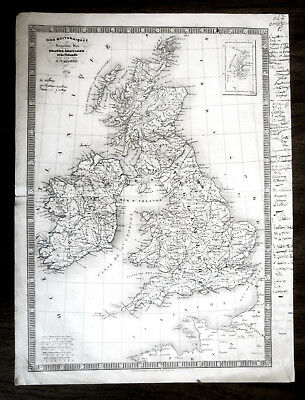 Map of British Isles Copper Engraving by C.V. Monin 1834 England Ireland