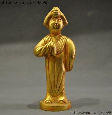 Ancient Chinese bronze 24k gold Tang dynasty classical beauty Belle Woman Statue