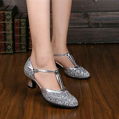Women Latin Dance Shoes Ladies Ballroom Shoes Low-heeled Soft Bottom Sequin