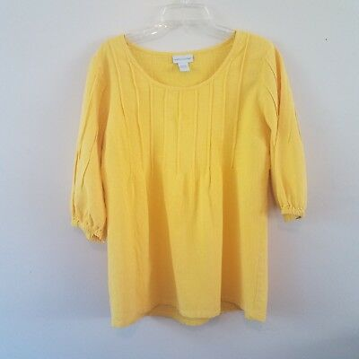 90011bb0536 Soft Surroundings petite/med 3/4 Sleeve Gauzy Pintuck Tunic Yellow Blouse  Top