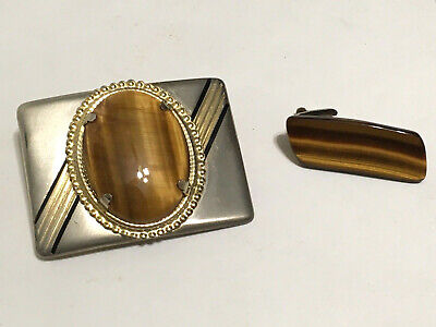 Large Tiger's Eye Stone Belt Buckle & Tie Clip Polished Retro Vintage Cowboy LOT