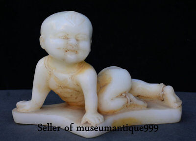 """12"""" Rare Old Chinese White Jade Carving Tongzi Boy Baby lovely Statue Sculpture"""