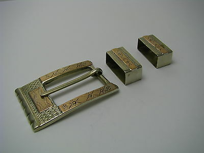 MIXED METALS HANDCRAFTED STERLING SILVER BELT BUCKLE SILVER &COPPER Taxco Mexico