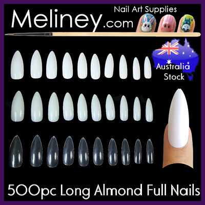 500Pc Long Almond Full Cover Nails Stiletto Pointy False Fake Acrylic Gel supply