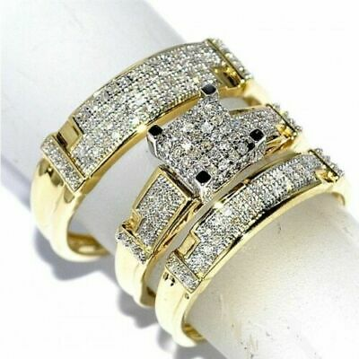 14k Yellow Gold FN His And Her Diamond Engagement Bridal Wedding Trio Ring Set