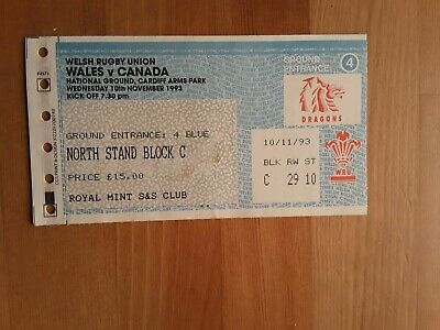 RUGBY UNION  MATCH TICKET - WALES v CANADA AUTUMN INTERNATIONAL 1993