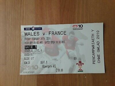 RUGBY UNION MATCH  TICKET - WALES v FRANCE 6 NATIONS 2010