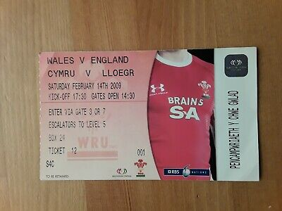 RUGBY UNION MATCH  TICKET- WALES v ENGLAND 6 NATIONS 2009