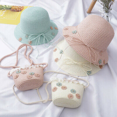 Baby Kid Beach Bucket Breathable Cap Straw Sun Hat+Shoulder Handbag Straw Bag AU
