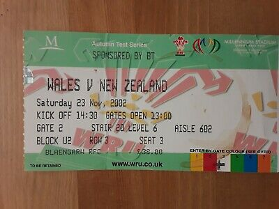 RUGBY UNION MATCH  TICKET - WALES v NEW ZEALAND AUTUMN INTERNATIONAL 2002
