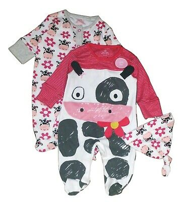 Next Baby Girls' 2 Pk Applique Character Pink Sleepsuit With Hat 1 Month