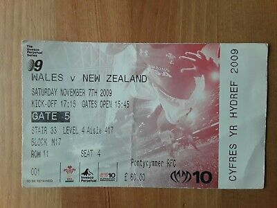 RUGBY UNION MATCH  TICKET - WALES v NEW ZEALAND AUTUMN INTERNATIONAL 2009