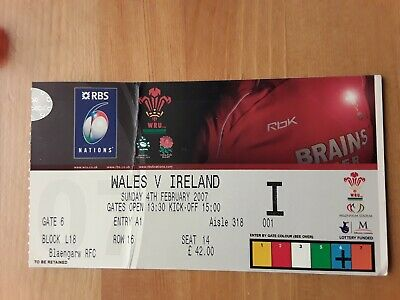 RUGBY UNION MATCH  TICKET - WALES  v IRELAND  6 NATIONS 2007