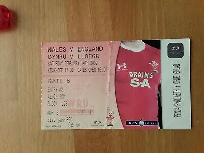 RUGBY UNION MATCH  TICKET - WALES  v ENGLAND  6 NATIONS 2009