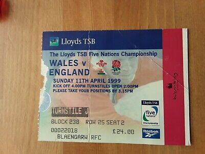 RUGBY UNION MATCH  TICKET - WALES  v ENGLAND  5 NATIONS 1999