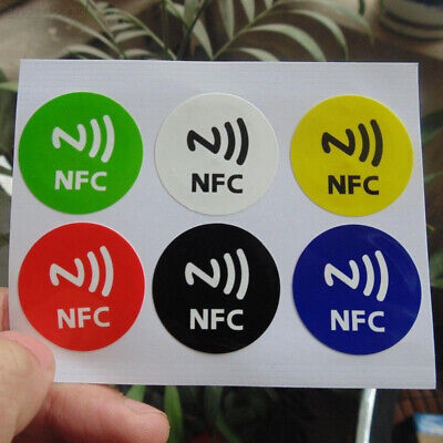 6Pcs NFC Smart Tags Smartphone Adhesive Chip RFID Label Tag Stickers Sticker