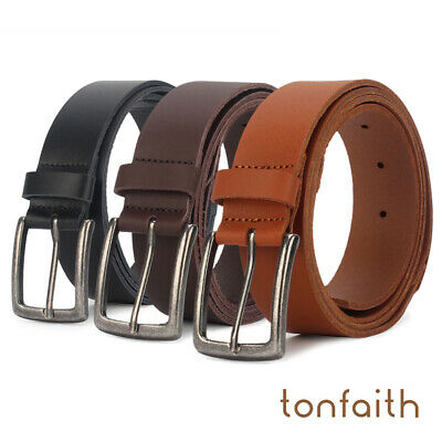 Men Genuine Leather Brown Belt Classic Casual Buckle Trouser Jeans Sizes Belts