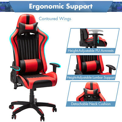 Silla Gaming Profesional Inclinación Altura Regulable Reclinable Oficina Roja ES