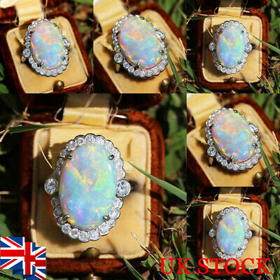 Women Opal Gemstone Ring Rhinestone Vintage Silver Plated Wedding Jewelry Gift