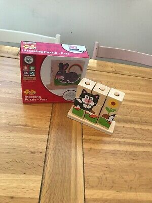 Bigjigs Baby Toys Wooden Stacking Blocks - Pets - From 12 Months Rainbow 🌈