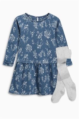 NEXT GIRLS' 2 PC INDIGO PRINTED DRESS WITH GREY TIGHTS VARIOUS SIZE Fast Shippin