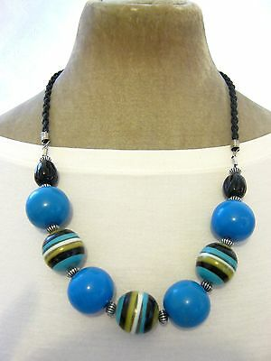 """24"""" Blue Green White black striped Sweetie Lolly pop Ball Beaded Necklace Funky"""