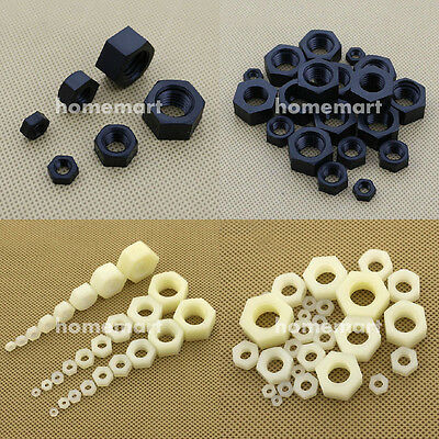 Nylon Hex Plastic Nut M2 M3 M4 M5 M6 M8 M10 M12 M14 M16 M18 M20 Hexagon Nuts 3MM