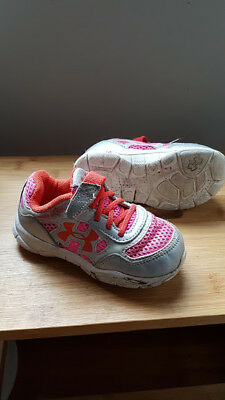 Under Armour Toddler Kids Infant Shoes Pink/Grey Girls Sneakers Runners Size 7C