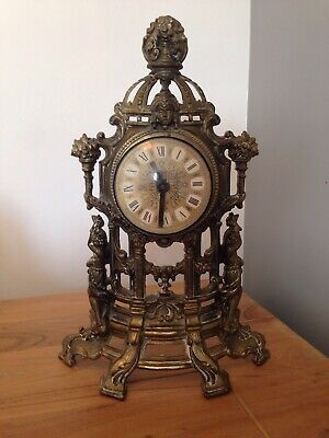 Vintage Large Brass Mantle Clock Antique art nouveau deco Working