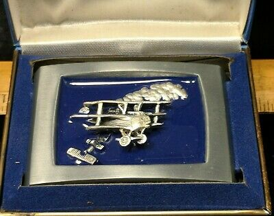 NOS Unique 1976 3D Plane With Blue Enamel Belt Buckle E. Hull With Box B4-3-2-A