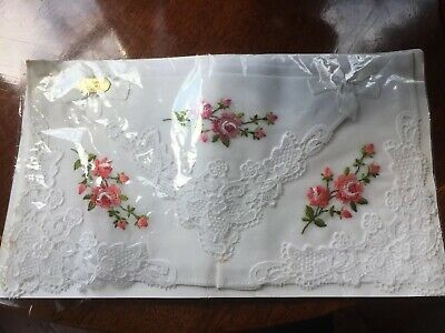 Vintage Franpear Handkerchief Swiss Fine Embroidered Lily Of The Valley Boxed