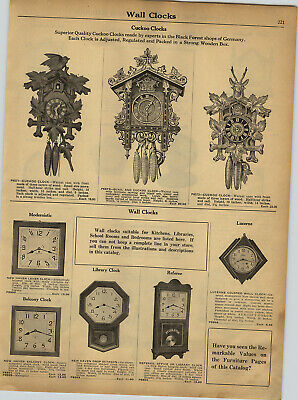 1930 PAPER AD Black Forest German Germany Quail & Cuckoo Wall Clock Clocks