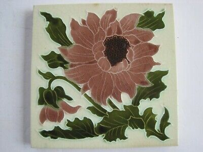 ANTIQUE VICTORIAN MINTONS MOULDED AND MAJOLICA GLAZED FLORAL WALL TILE No.E2724