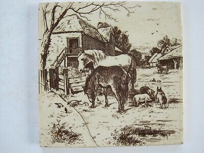 Antique Victorian Malkin Edge Transfer Print Tile - Farm Animals