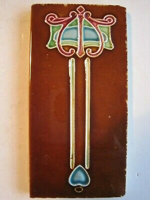 "ANTIQUE 6"" x 3"" ART NOUVEAU EMBOSSED MAJOLICA GLAZED TILE - LEA & BOULTON c1910"